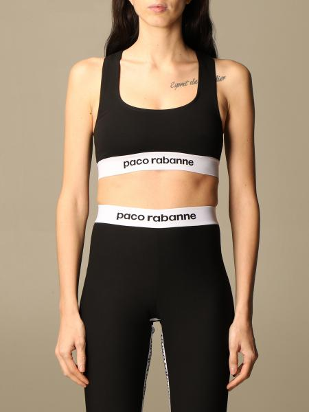 Paco Rabanne: Paco Rabanne cropped sport top with logo