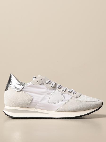 Philippe Model donna: Sneakers Philippe Model in nylon e camoscio