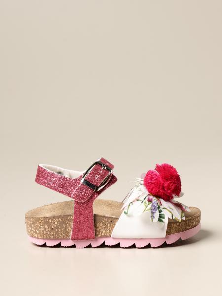 Sandalo Monnalisa con fiore e pompon