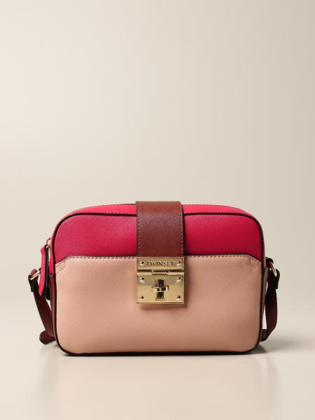 Twin-set chamber bag in saffiano synthetic leather
