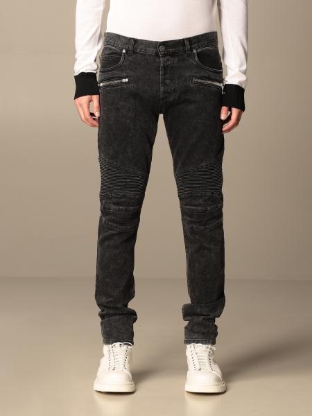 Jeans Balmain in denim con zip