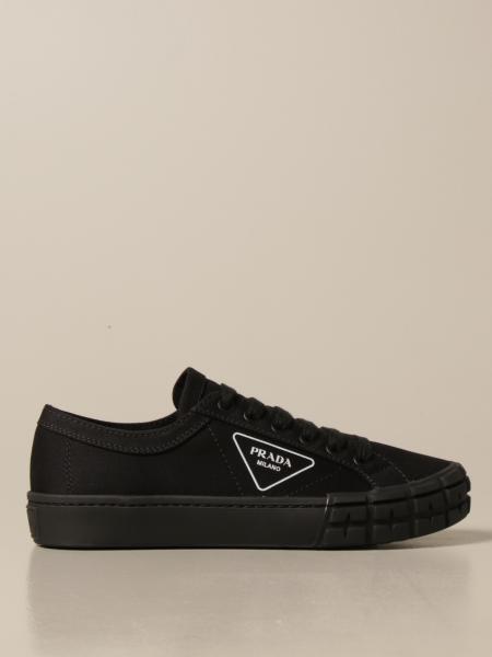 Prada men: Prada sneakers in canvas with triangular logo