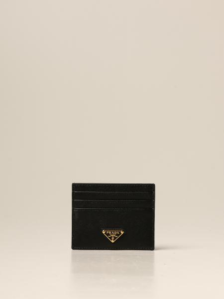 Porta carte di credito Prada in pelle saffiano