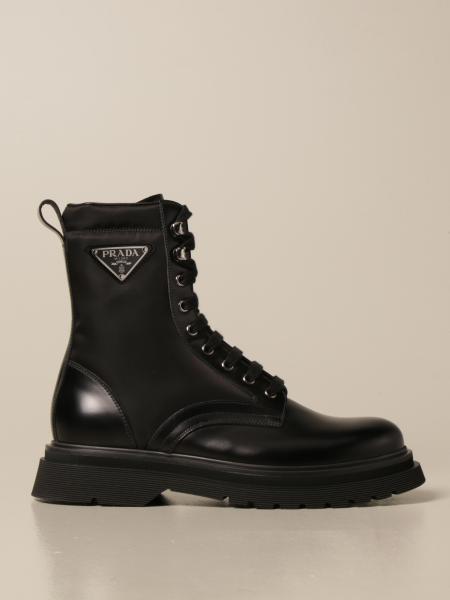 Prada men: Prada ankle boot in leather and nylon with triangular logo