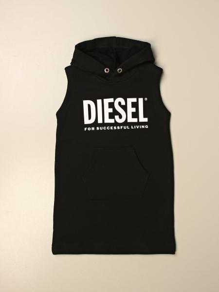 Diesel kids: Diesel hooded sweatshirt dress with logo