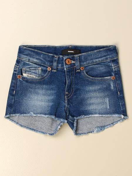 Diesel kids: Diesel jeans shorts in denim with tears