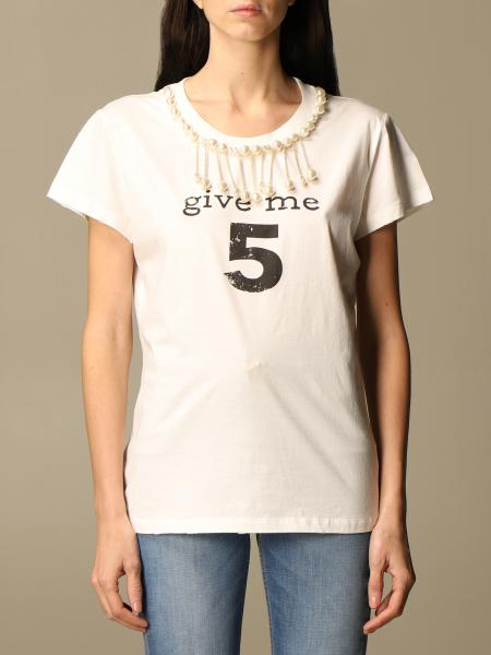 Pinko: Pinko T-shirt with give me 5 writing and pearls
