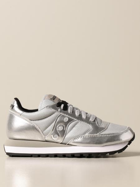 Saucony: Saucony sneakers in laminated leather and micro net