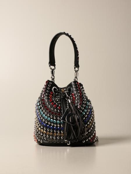 La Carrie bucket bag in synthetic leather and rhinestones