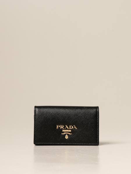 Porta carte Prada in pelle saffiano con logo lettering