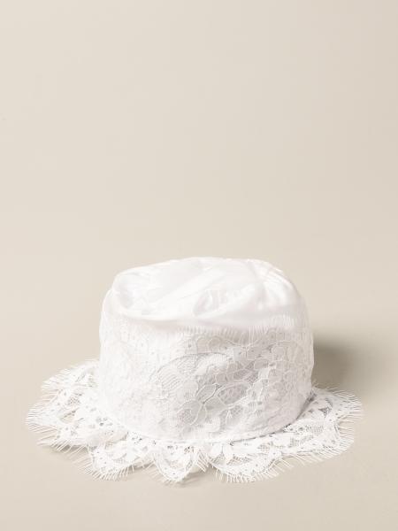 Cappello a cuffia Monnalisa in cotone e pizzo