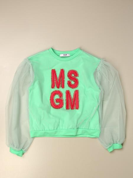 Msgm Kids cotton T-shirt with tulle sleeves