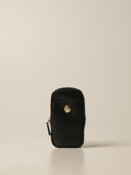 Versace: Versace mini mobile phone bag in leather with Medusa head