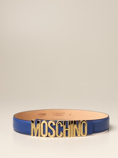 Moschino women: Moschino Couture leather belt with lettering buckle