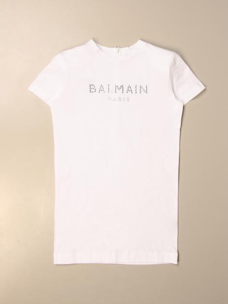 Abito a t-shirt Balmain in cotone con logo di strass