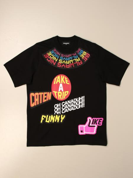 Dsquared2 Junior T-shirt in cotton with multi prints