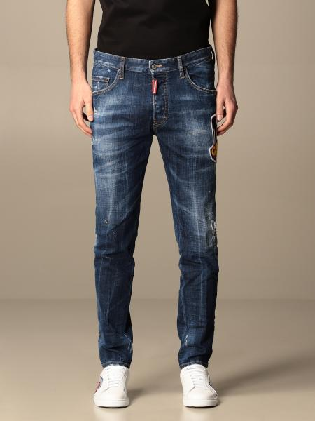 Jeans Dsquared2 in denim used con rotture e patch