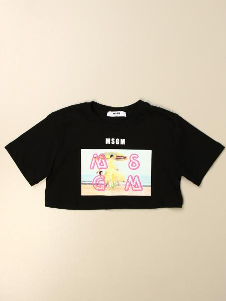 Msgm Kids cropped t-shirt with logo print