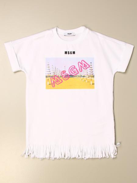 Msgm Kids t-shirt dress with logo print