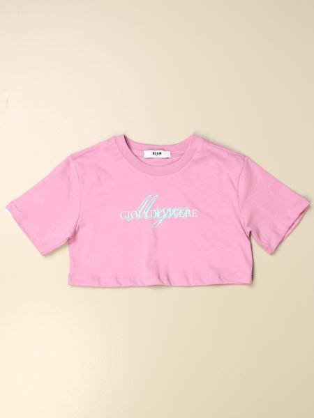 Msgm Kids cropped t-shirt with logo