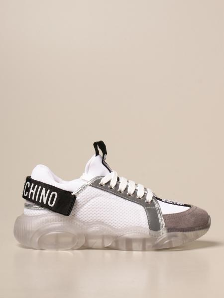 Moschino Couture trainers in suede and mesh with teddy sole