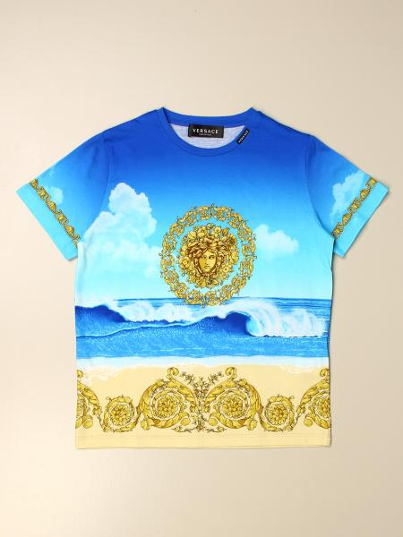 Versace Young patterned T-shirt with signature and Medusa head