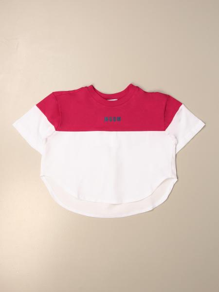 Two-tone Msgm Kids t-shirt with logo