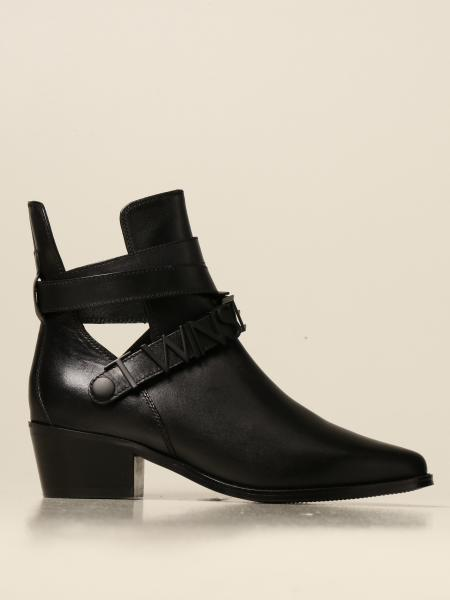 Twin-set leather ankle boot with big logo