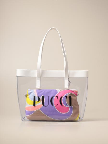 Emilio Pucci: Emilio Pucci pvc bag with patterned clutch bag