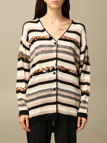 Twin-set striped v-neck cardigan with sequins