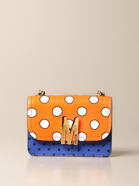 Moschino women: Polka Dots Moschino Couture leather bag with logo
