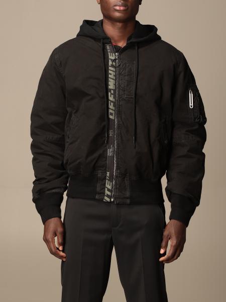 Off White hooded bomber jacket with logo