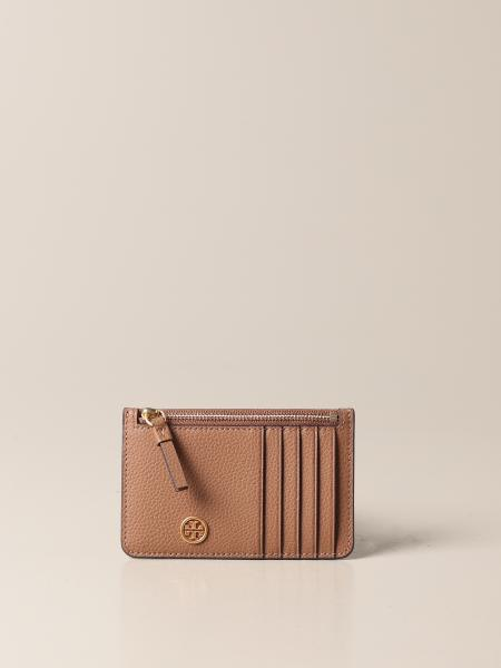 Tory Burch: Tory Burch credit card holder in hammered leather with logo and zip