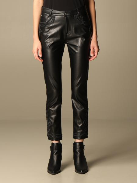 Ermanno Scervino: Ermanno Scervino leather trousers with embossed details