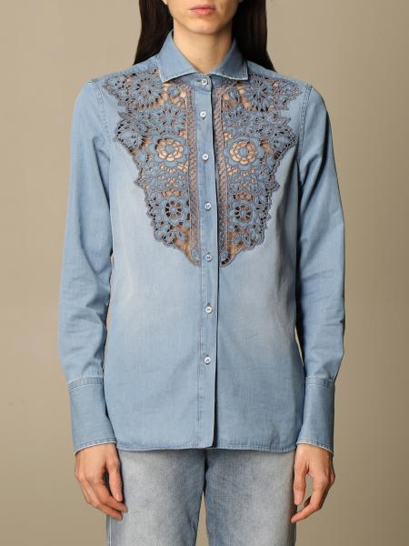 Ermanno Scervino: Ermanno Scervino cotton shirt with macramé details
