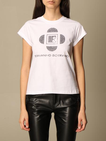 Ermanno Scervino: Ermanno Scervino cotton T-shirt with rhinestone logo