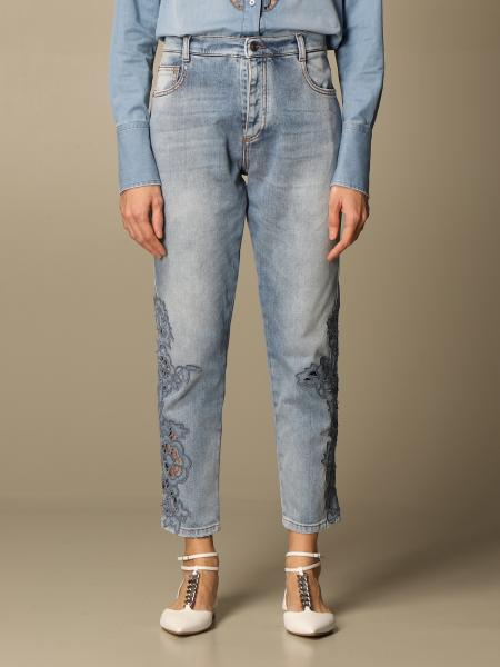 Ermanno Scervino: Ermanno Scervino denim jeans with macramé details