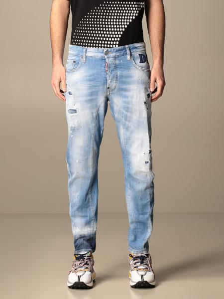Jeans Dsquared2 in denim used con rotture