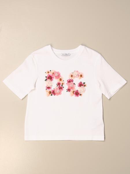 T-shirt Dolce & Gabbana in cotone con logo DG floreale