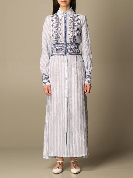 Ermanno Scervino: Ermanno Scervino long striped dress with embroidery