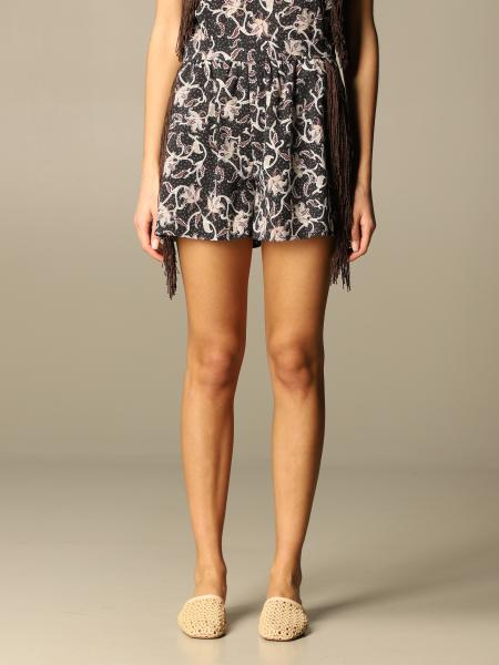 Pinko patterned shorts with fringes