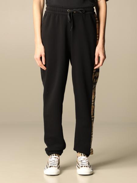 Burberry women: Burberry jogging trousers in cotton with check bands