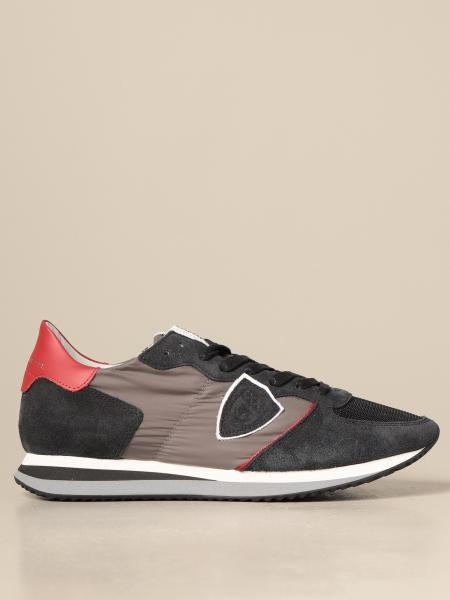 Philippe Model men: Philippe Model sneakers in nylon and suede