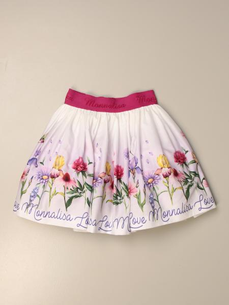 Monnalisa wide skirt in floral patterned cotton