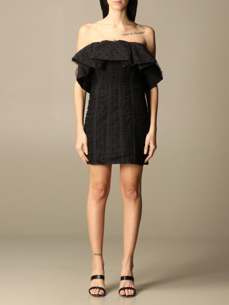 Self-portrait mini dress in polka dot tulle with flounce