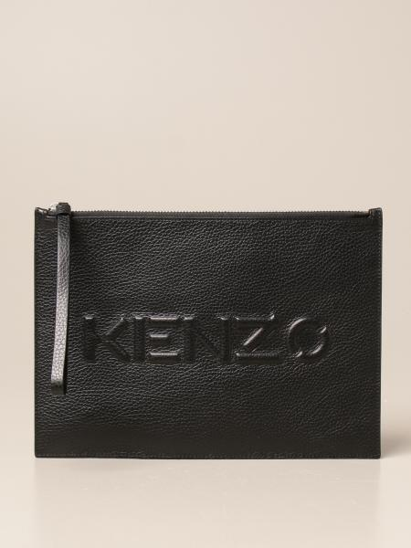 Kenzo clutch bag with embossed logo in hammered leather