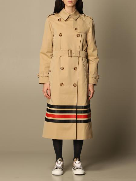 Trench coat Burberry in gabardine di cotone con dettaglio a righe