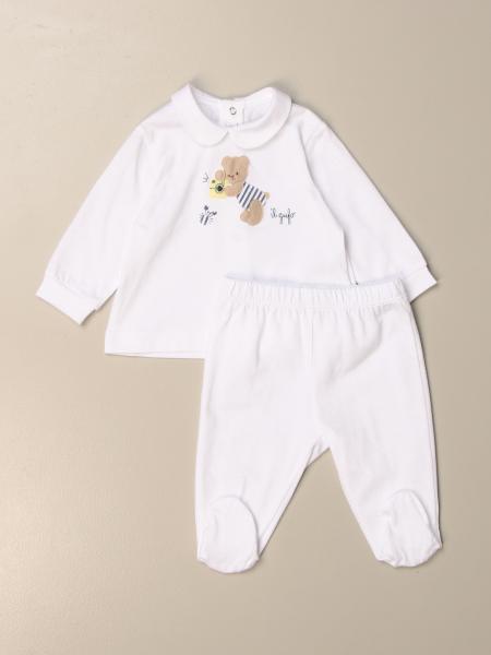 Completo Polo + pantalone con piede Il Gufo con orsetto