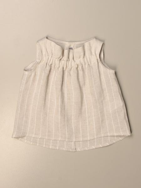 Il Gufo top in pinstripe linen