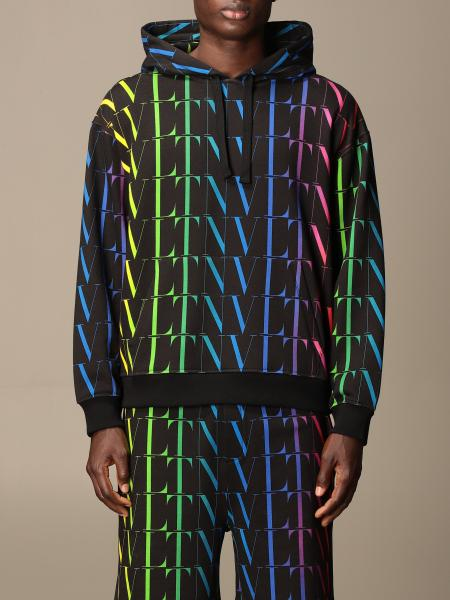Valentino cotton sweatshirt with all-over multicolor VLTN logo
